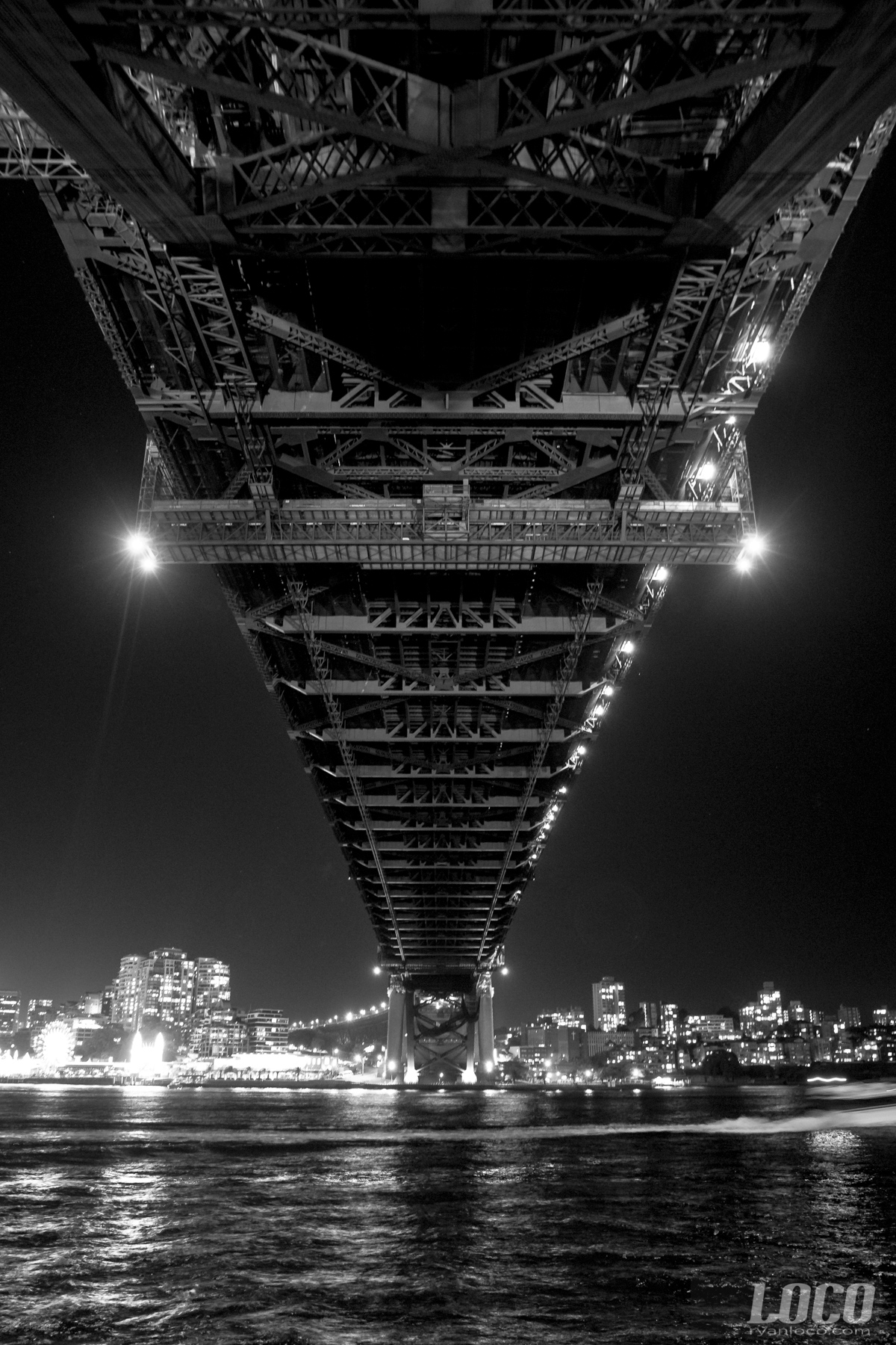 Underneath the Harbour Bridge in Sydney, Australia.