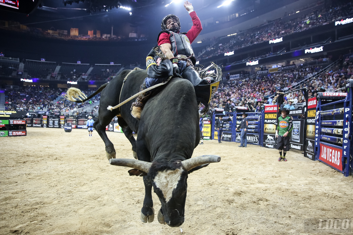 A bull rider comes right for me at the PBR World Finals in Las Vegas at the T-Mobile Arena.