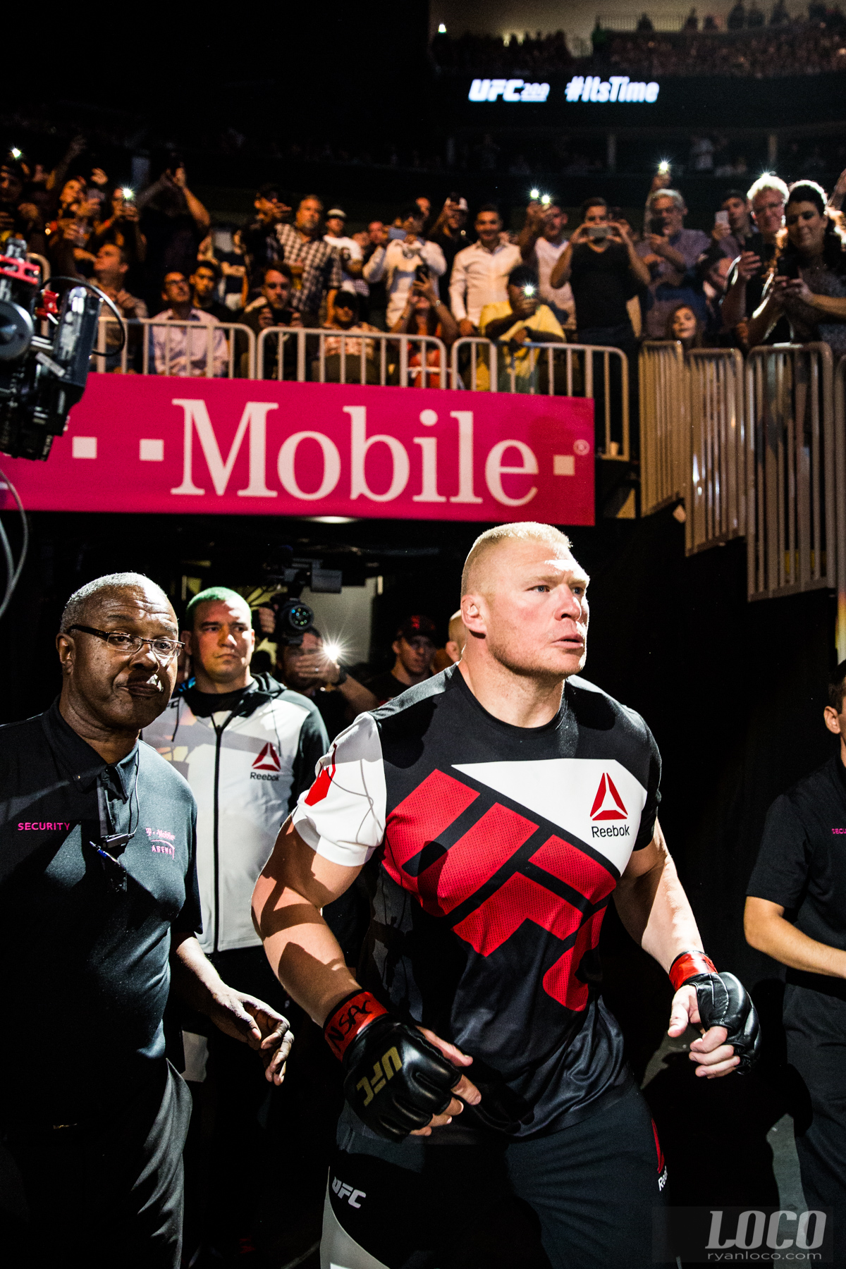 """The Beast Incarnate"" Brock Lesnar makes his entrance (and return) to the Octagon against Mark Hunt at UFC 200 in Las Vegas at the T-Mobile Arena."