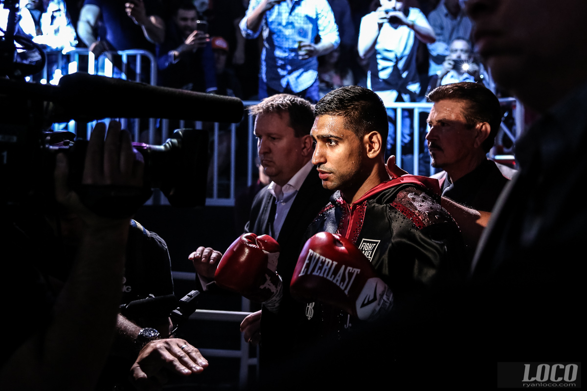 Amir Khan makes his entrance for his fight against Canelo Alvarez at T-Mobile Arena.