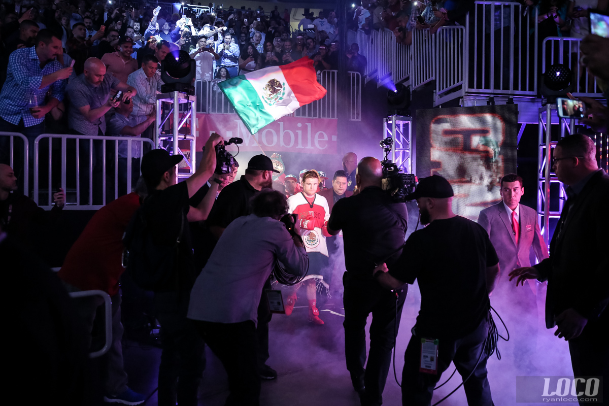 Canelo Alvarez makes his entrance for his fight against Amir Khan at T-Mobile Arena.
