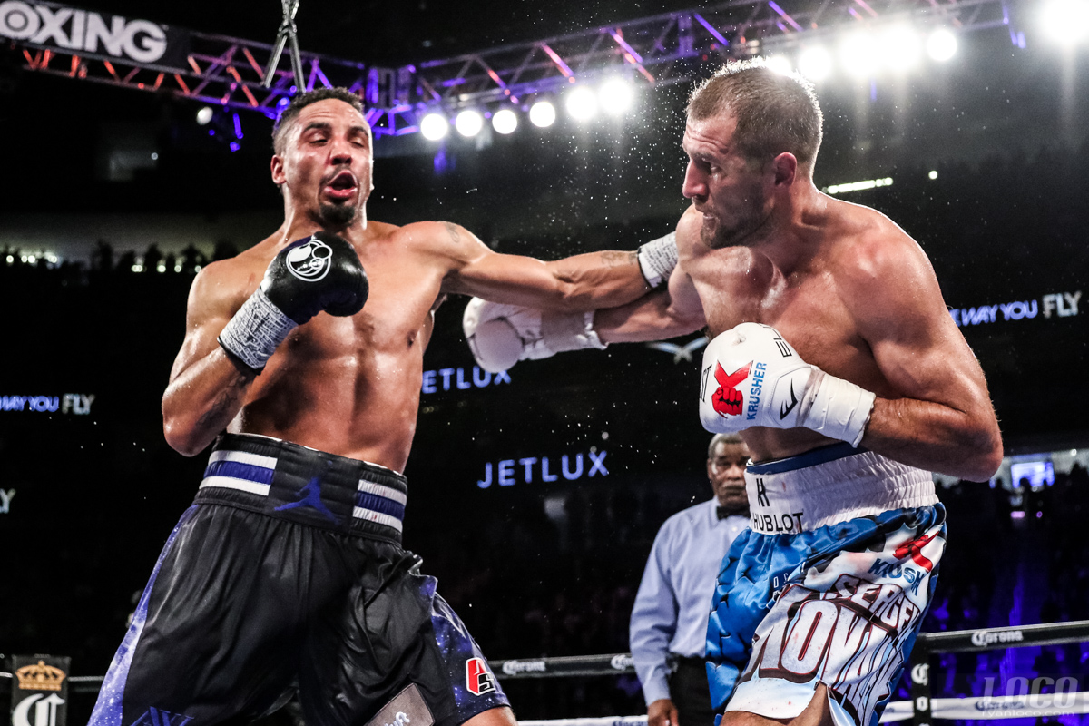 Andre Ward and Sergey Kovalev exchange shots during their classic bout at T-Mobile Arena. Ward would go on to win the decision and lead to all of us waiting for the rematch.