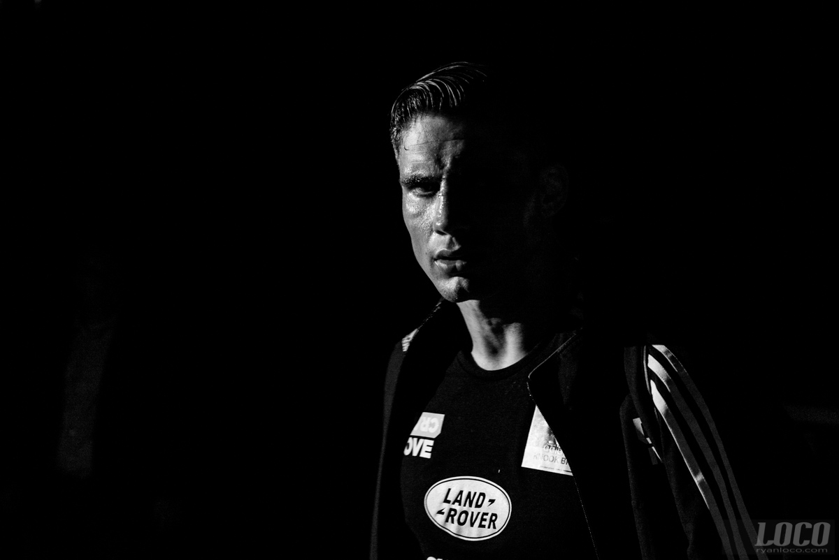 Glory Heavyweight champ Rico Verhoeven paces around backstage before his fight at Glory 33 in New Jersey.