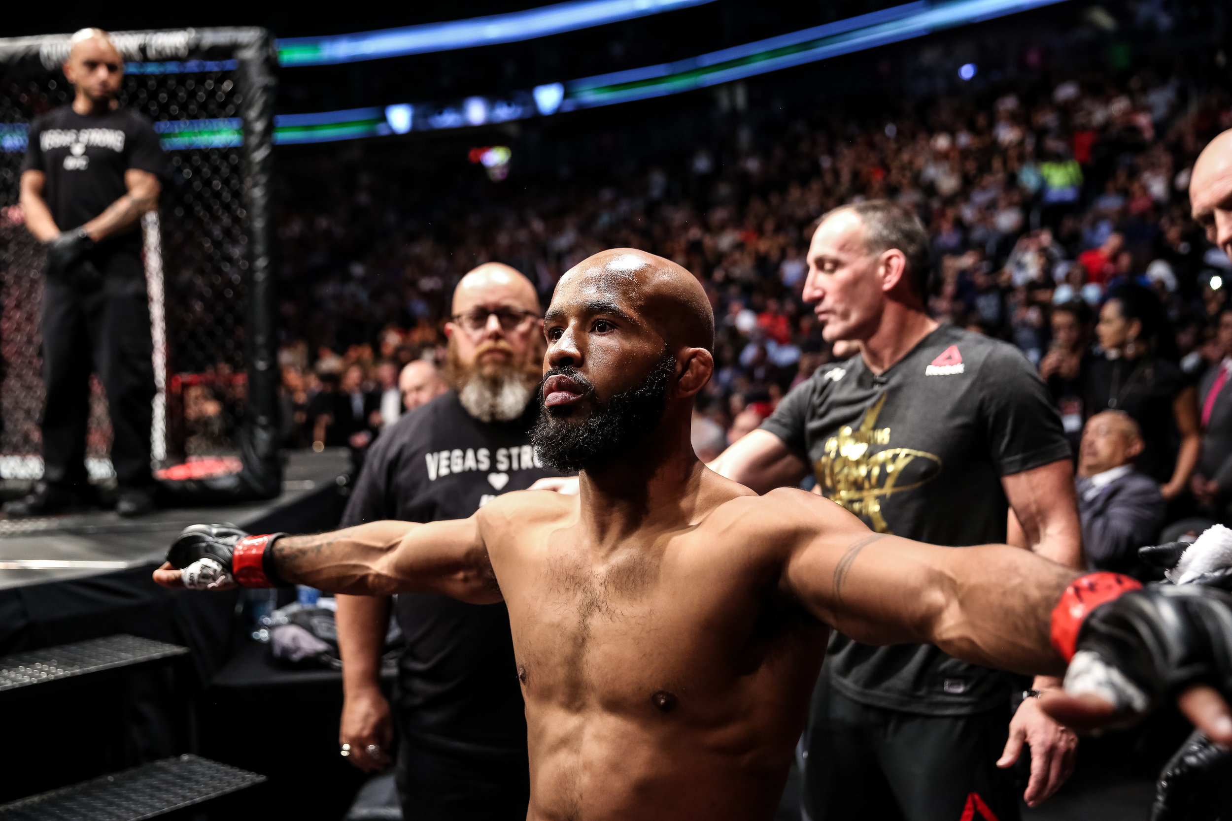 "Demetrious ""Mighty Mouse"" Johnson just before he entered the cage to defeat Ray Borg and set the record for most consecutive title defenses."