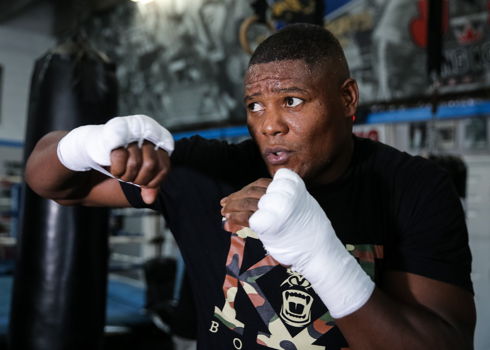Boxer Luis Ortiz works out for the media in Miami, FL. Shot for Showtime Boxing.