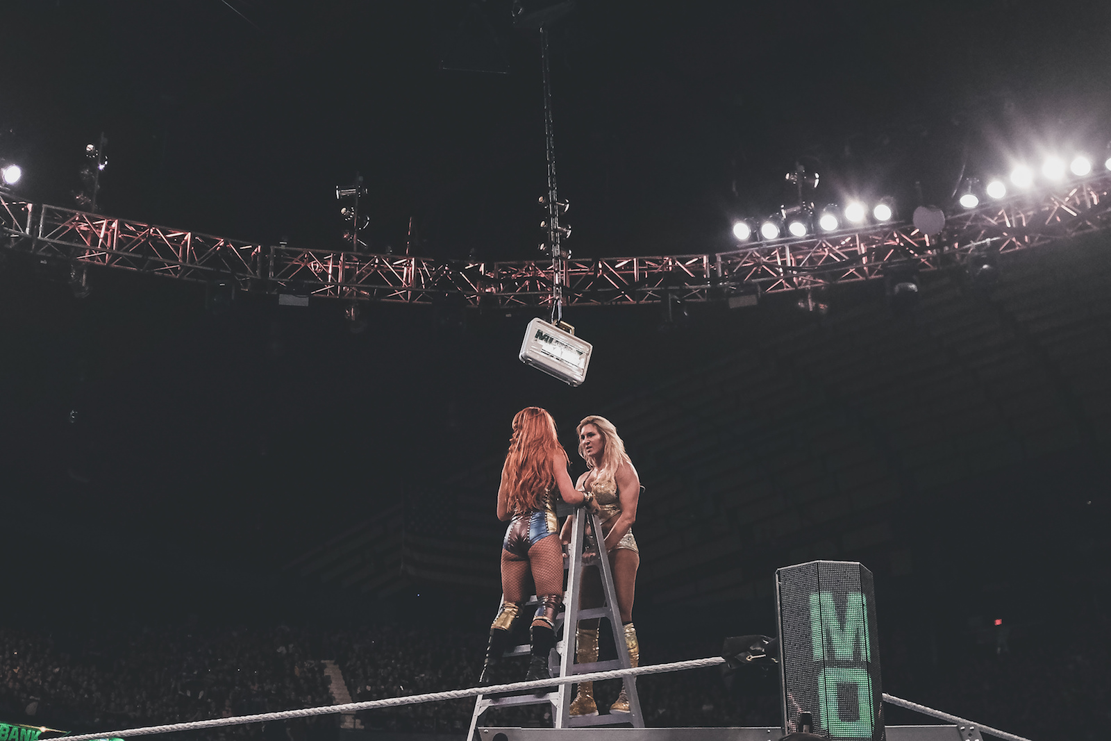 WWE Superstars Becky Lynch and Charlotte Flair meet at the top in Chicago, IL.