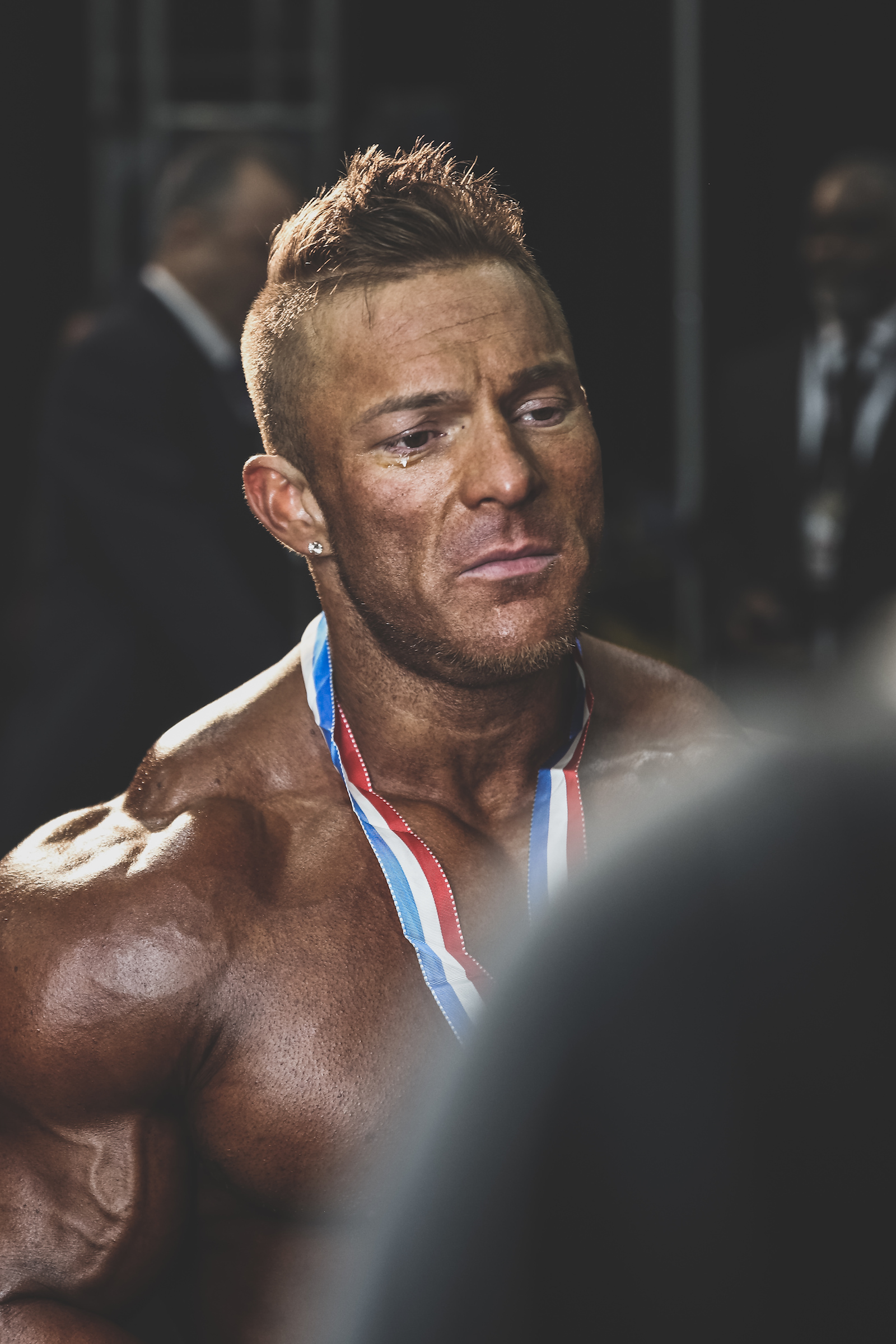 An emotional Flex Lewis after winning his seventh straight Mr. Olympia 212 title. Las Vegas, NV.