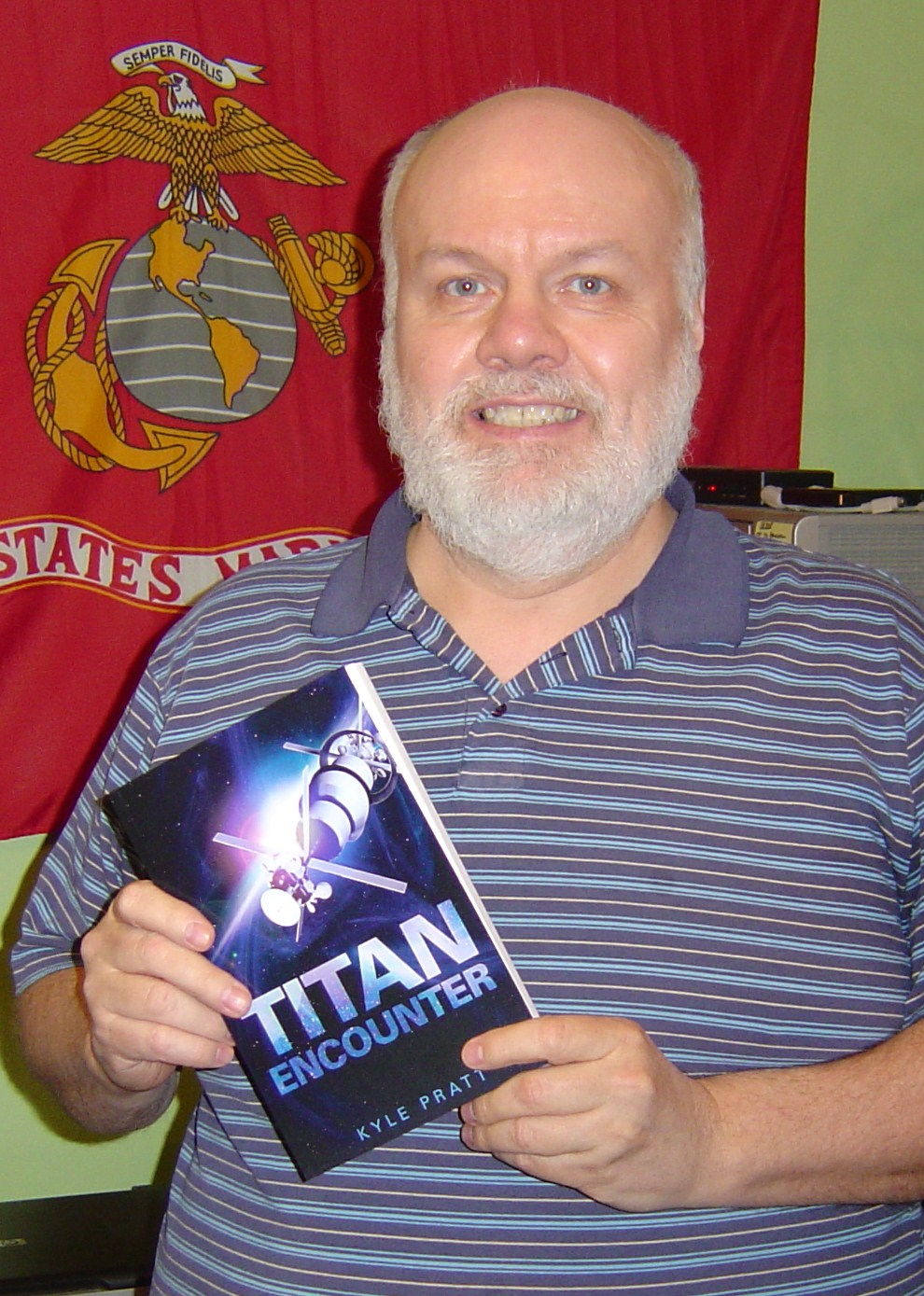 Dave Larson with a copy of Titan Encounter
