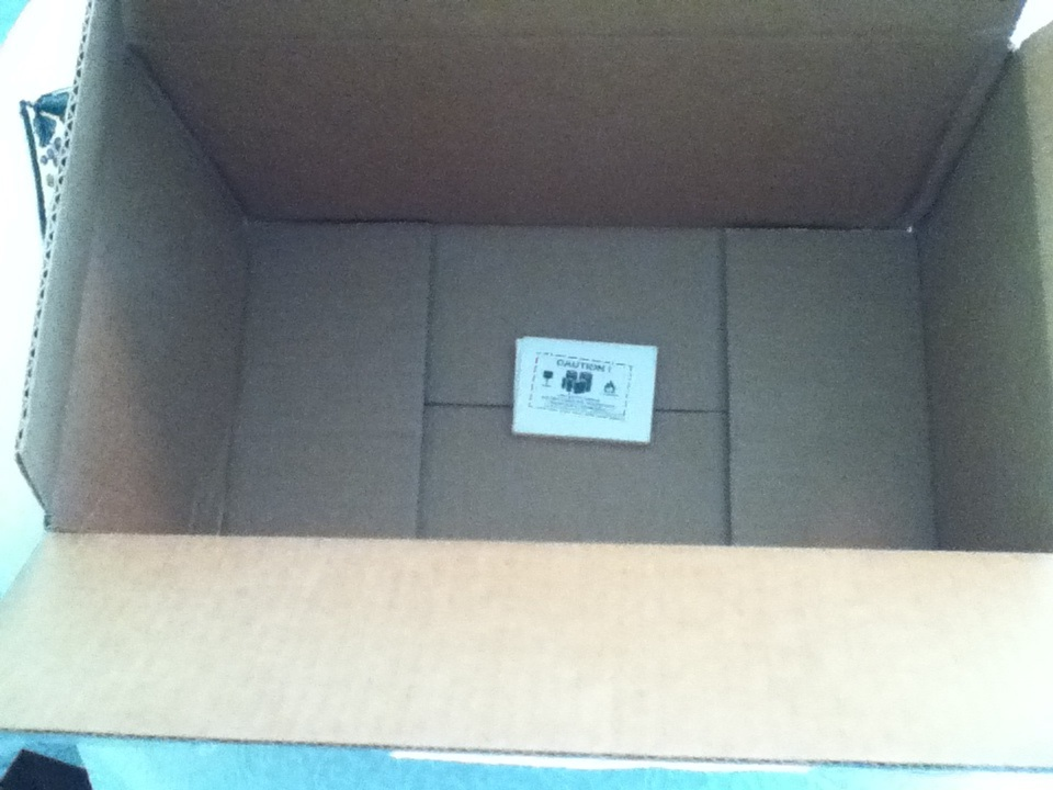 A large but nearly empty box.