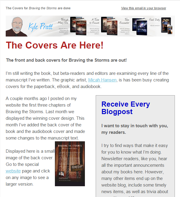 The July newsletter of author Kyle Pratt