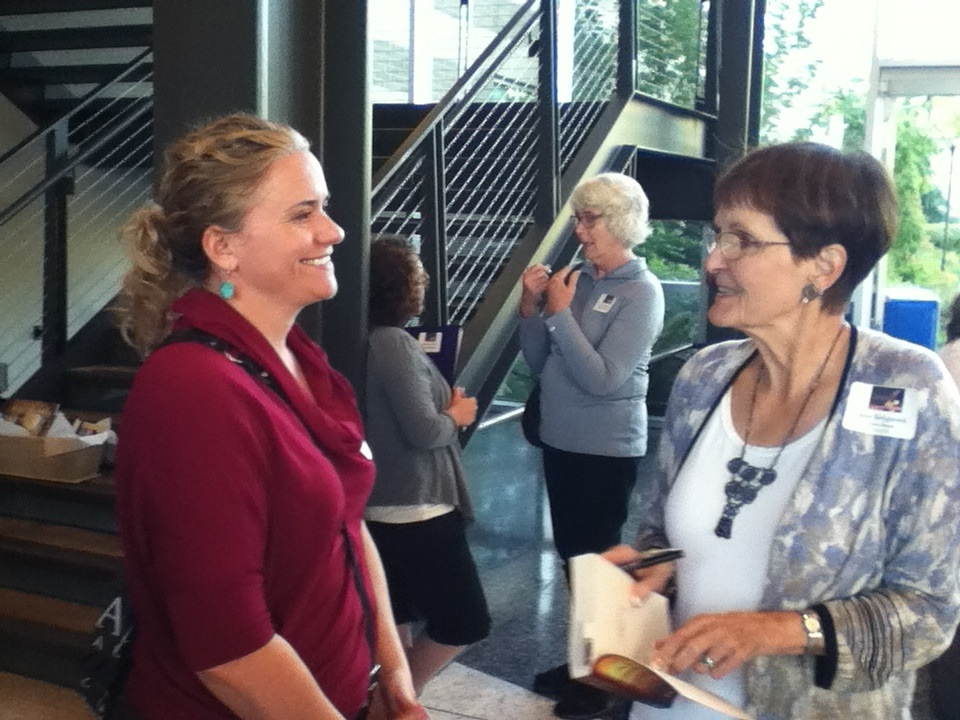 Authors Lisa Burnette and Jane Kirkpatrick at the Southwest Washington Writers Conference