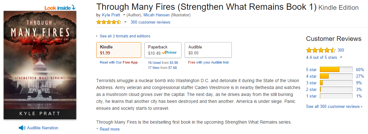 Composite picture of the Through Many Fires page on Amazon.com