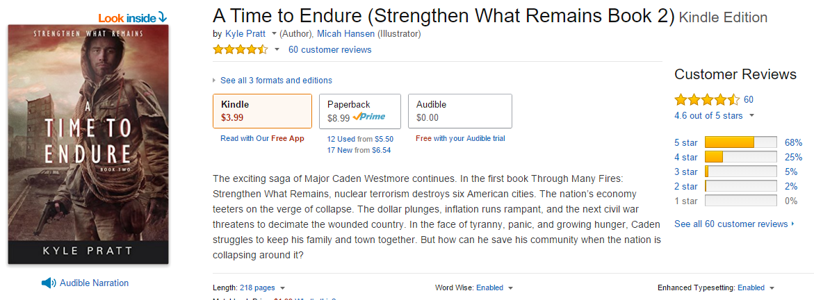 Composite picture of the A Time to Endure page on Amazon.com