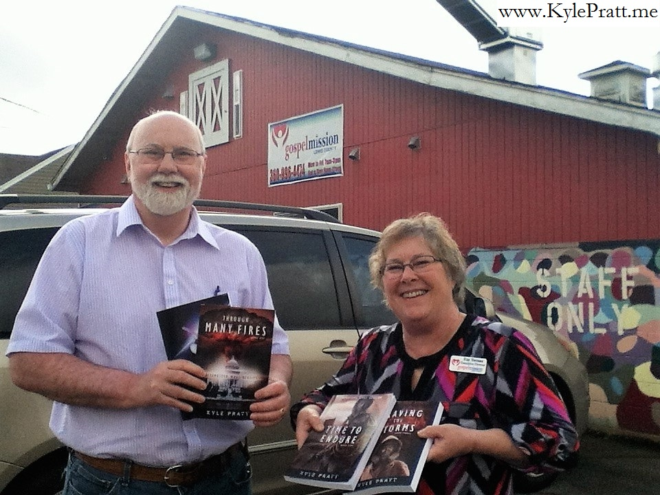 Author Kyle Pratt with Gospel Mission director Fay Ternan