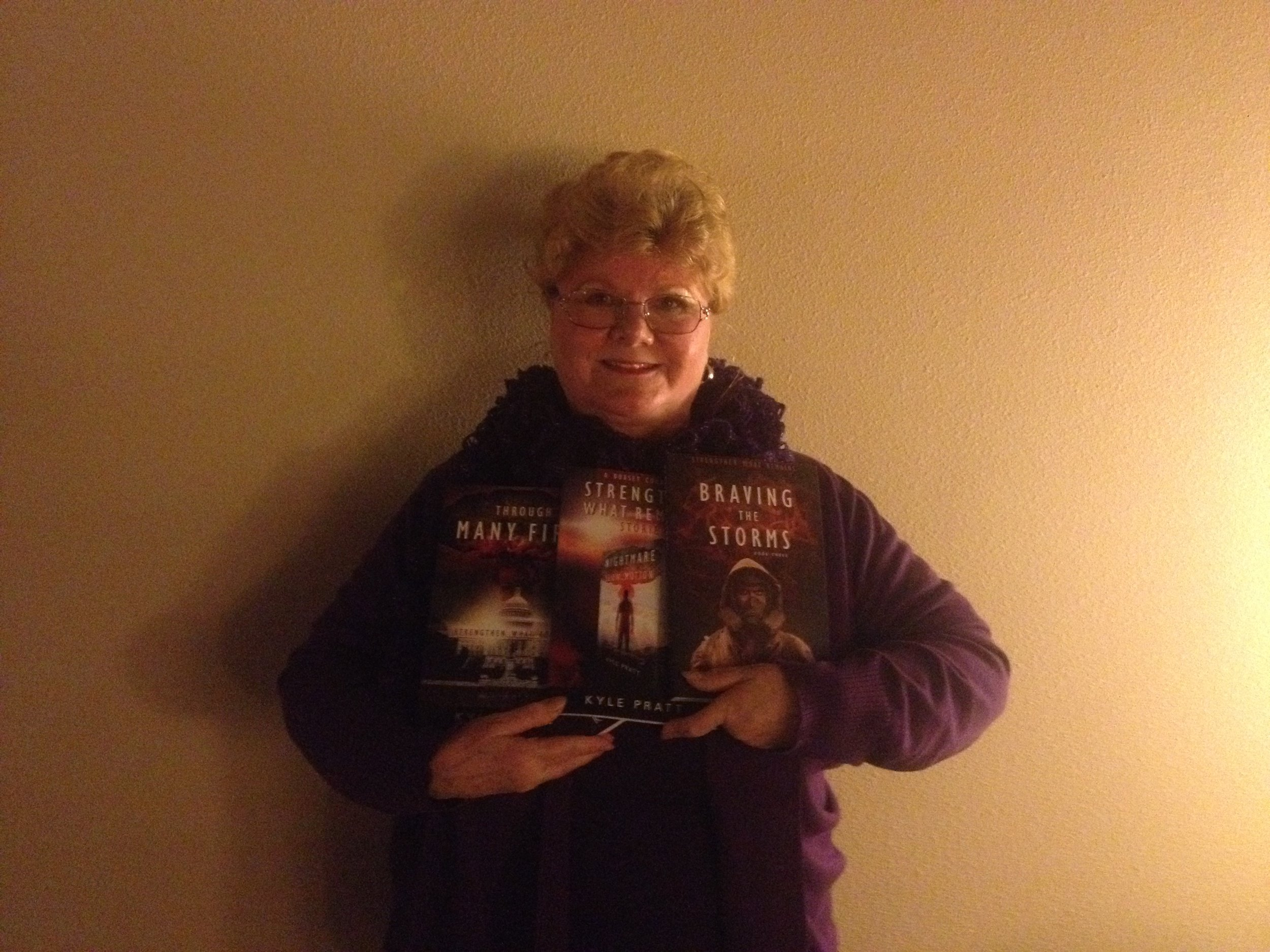 Donna from Pe Ell, Washington State. She's a new fan with copies of  Through Many Fires,  the combo of  Nightmare in Slow Motion  and  The Long Way Home  and, on the end,  Braving the Storms . I'm pretty sure she also has a copy of  A Time to Endure.