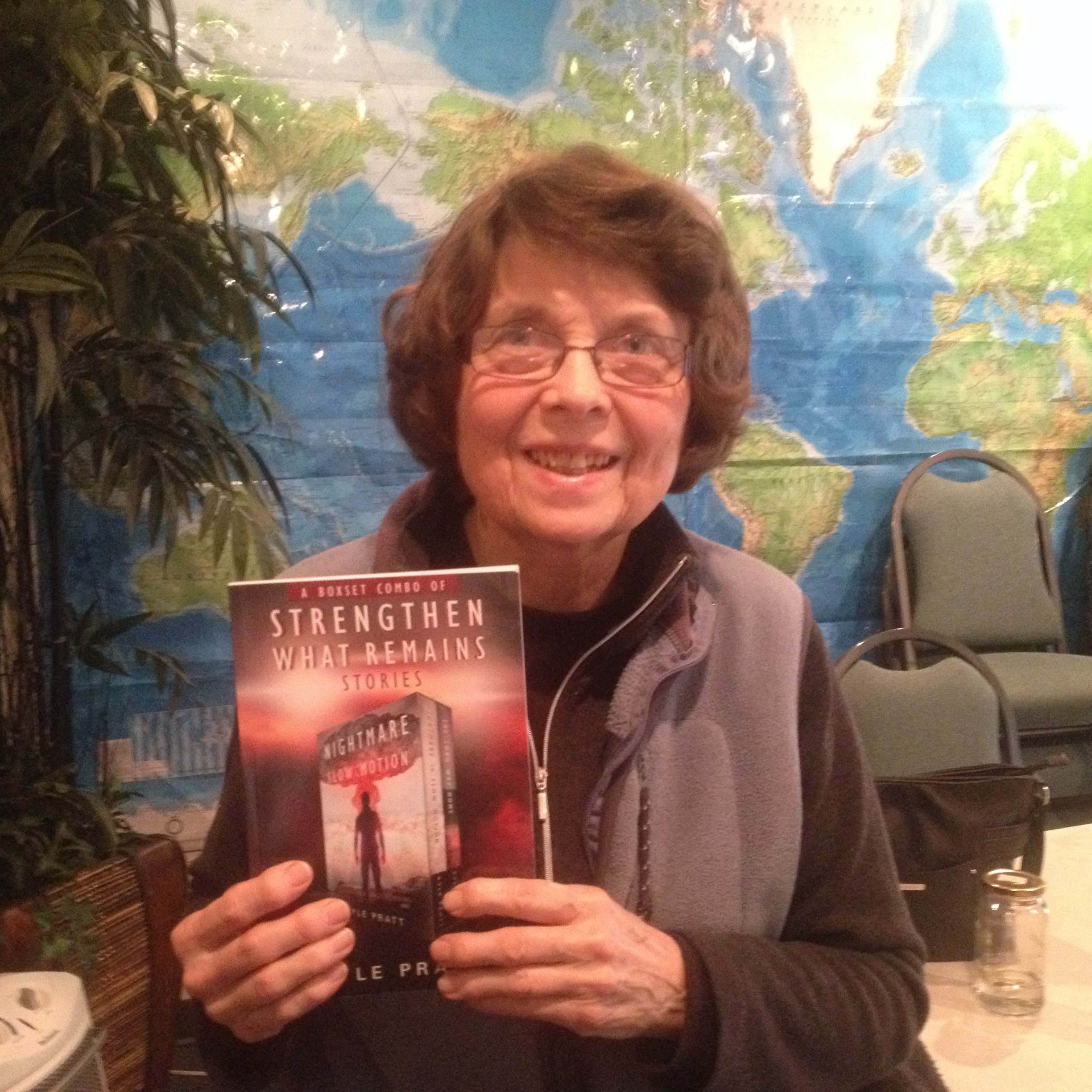 Carolyn from Chehalis, Washington State with the combo book of  Nightmare in Slow Motion  and  The Long Way Home .