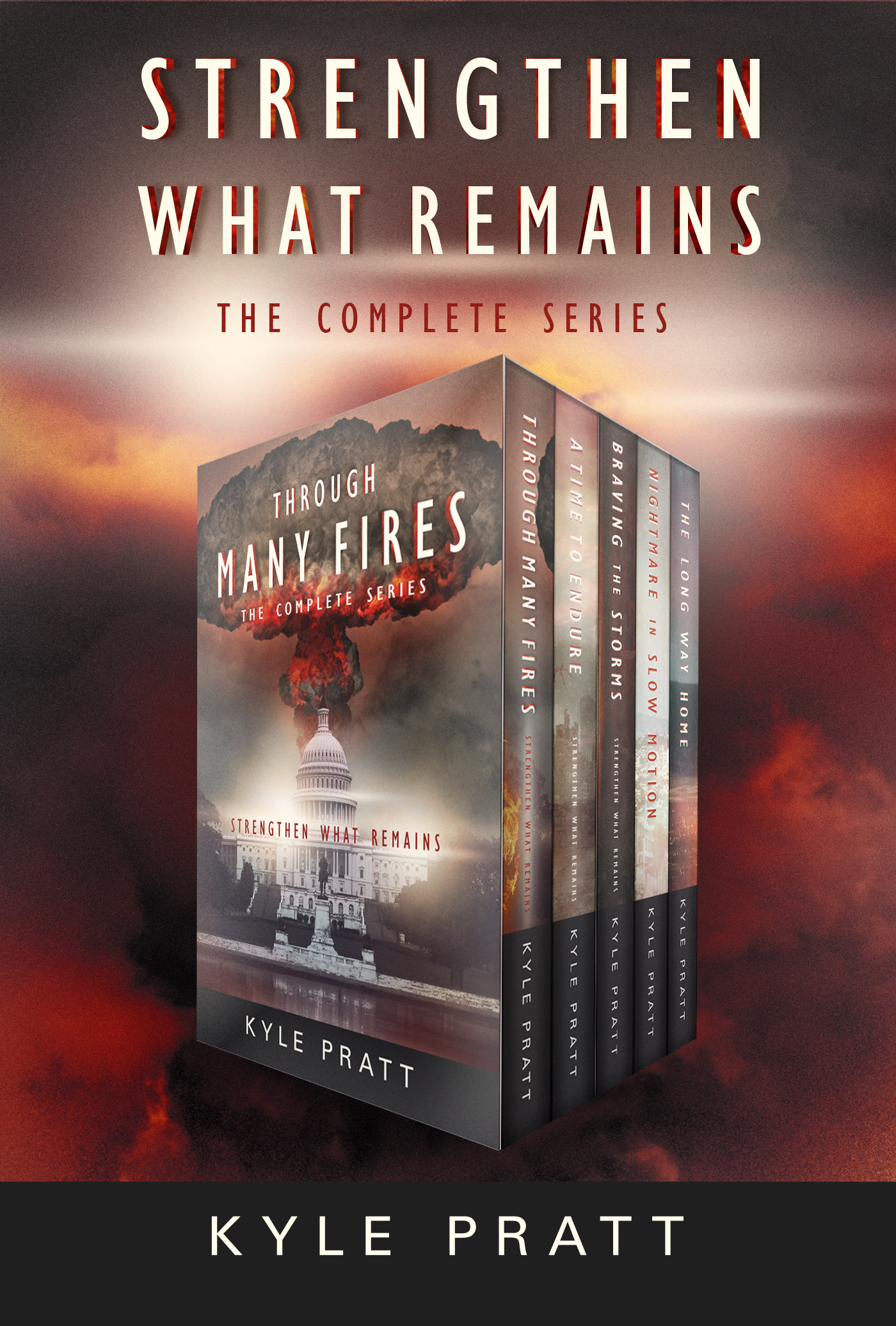 The Strengthen What Remains Boxset   That's right, the entire Strengthen What Remains series in one ebook box set--nearly 250,000 words of post-apocalyptic action-adventure.  This box set includes   Through Many Fires    ,    A Time to Endure   ,    Braving the Storms   ,    Nightmare in Slow Motion   , and    The Long Way Home   .