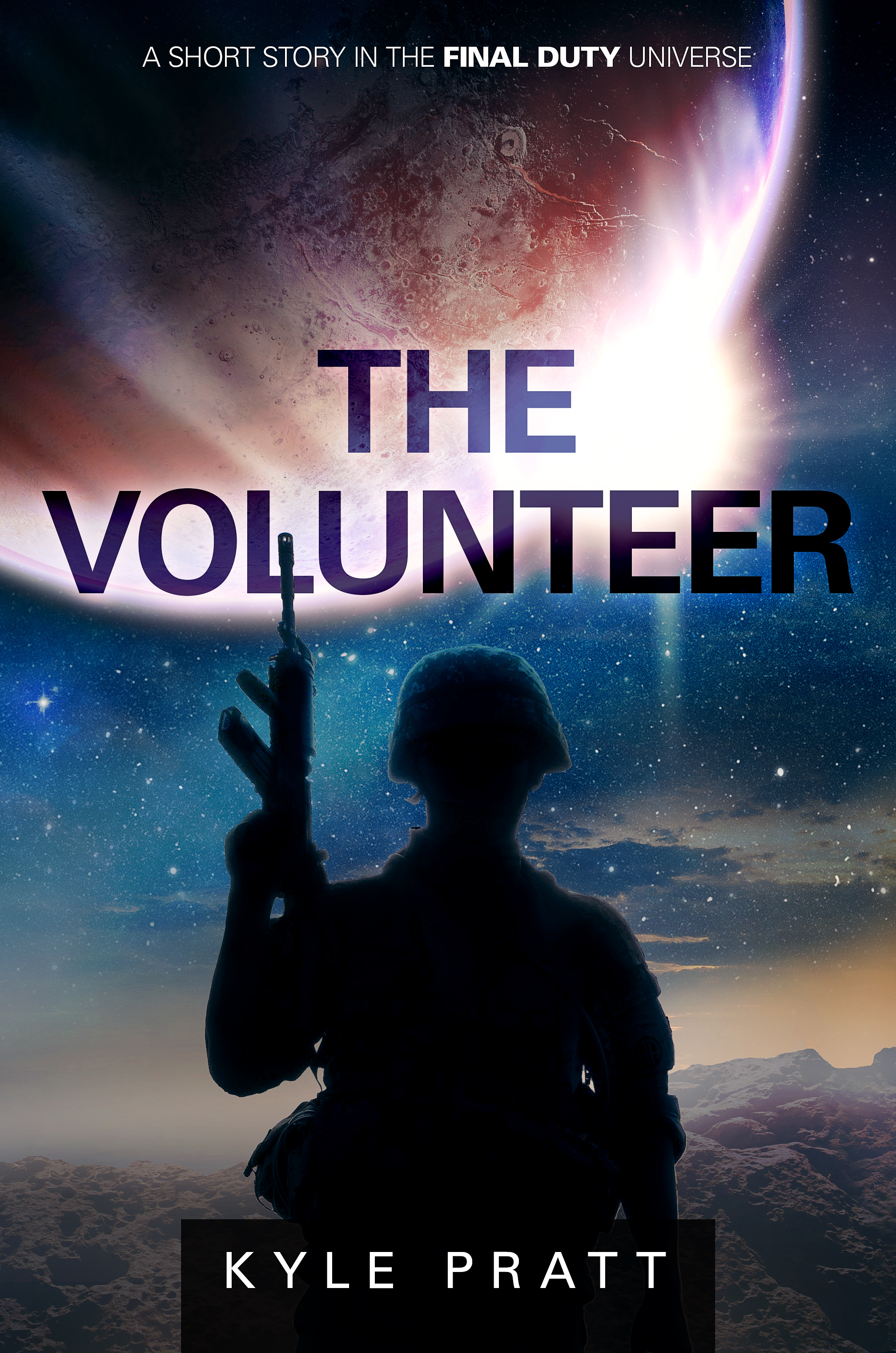 The Volunteer   After the hex attack Earth, Garvin Blake wants to impress his girlfriend and be something of a hero and so agrees to be cloned.  The Volunteer , my fourth story in the Final Duty universe, is a flash fiction piece of about 1,000-words.  The Volunteer  and  Infinite Darkness  are two stories that originate from a common idea. However,  Infinite Darkness  takes a sad, but hopeful turn while The Volunteer heads in a darker direction.  Because The Volunteer is flash fiction, I don't sell the story. It's only available to  newsletter subscribers .