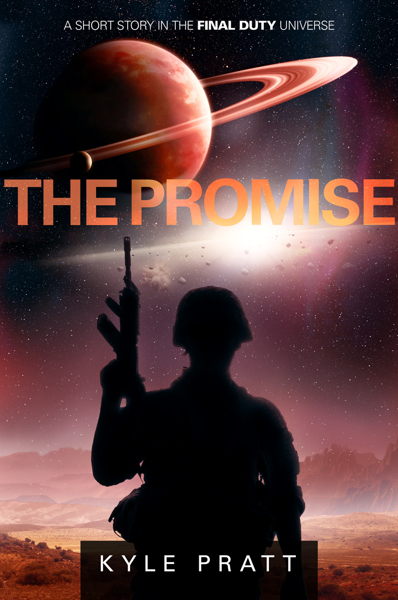 The Promise   A young man will soon leave the planet of his birth with his wife and child, but his mother refuses to go unless they first visit an old war memorial. The visit stirs old memories and more.   The Promise  began what I now call the Final Duty universe. I wrote the 5,000-word story while deployed on USS Sterett (CG-31) in the western Pacific in the late 1980's. I think being on a ship helped set the feel of the flashback portion of the story.  The Promise is one of the stories offered  free  to  newsletter subscribers  or click  here  for a list of online distributors.