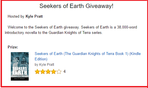 This is an Amazon.com contest for Kindle ebook copies of  Seekers of Earth . To enter, click on the image.
