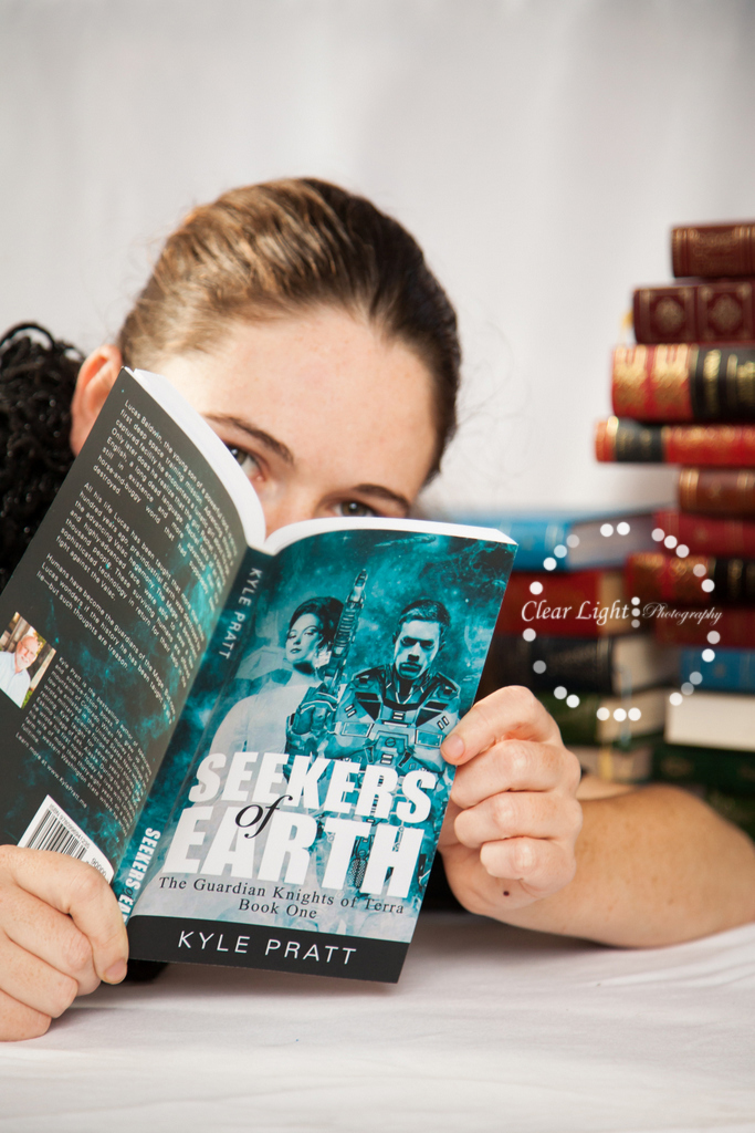 Clare from NSW Australia with a copy of  Seekers of Earth