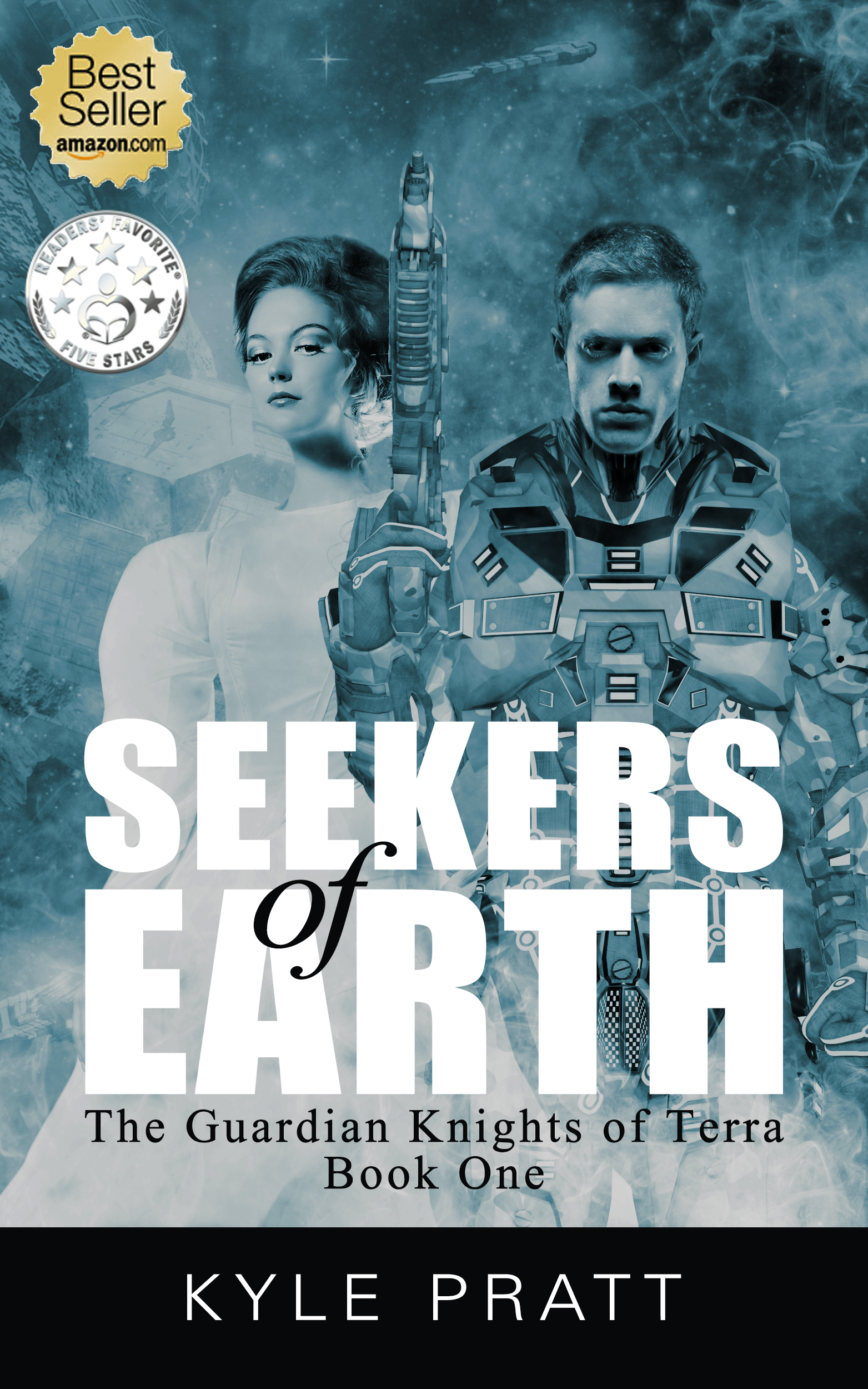 Seekers of Earth    Book one in the Guardian Knights of Terra series.    Awarded Readers Favorite 5-Star Review   Lucas Baldwin, the young son of a powerful lord, is on his first deep space training mission. Advancing through a captured facility he encounters a lunatic girl about his age. Only later does he realize that the girl, Rachel, is speaking English, a long-dead language. Rachel talks of an Earth still in existence and more advanced than the horse-and-buggy world that had supposedly been destroyed.