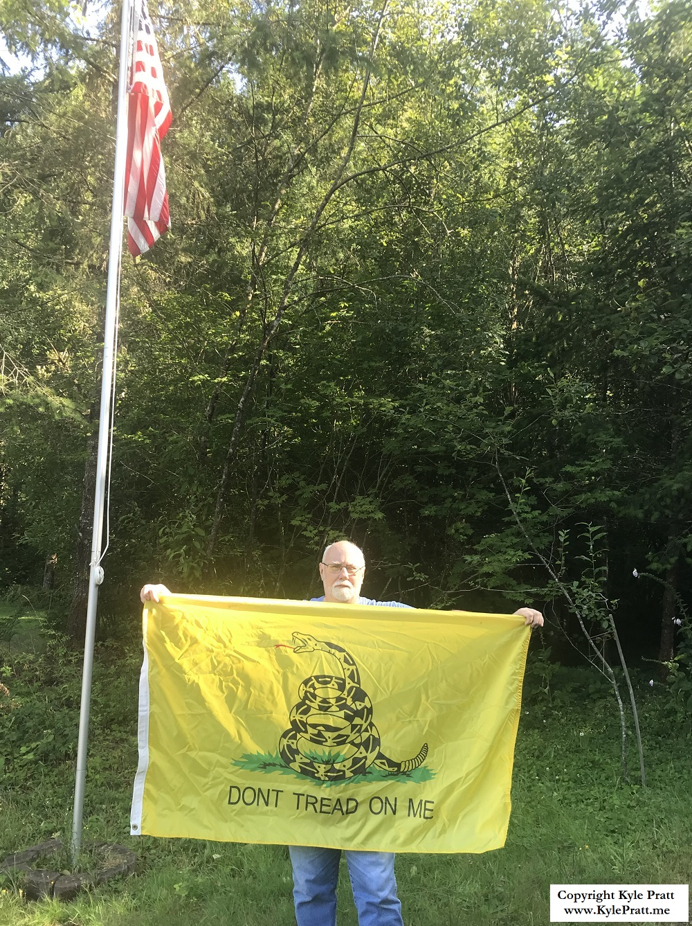 Kyle Pratt with his Gadsden Flag