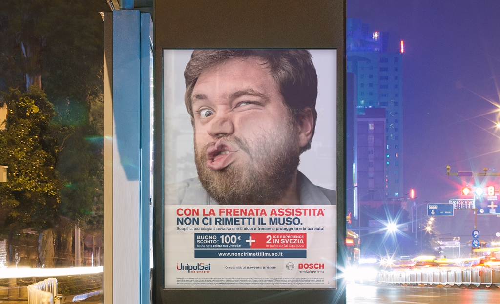 "Client: Bosch Europe through Libera Brand Building.   This print campaign involved photographs of 'squashed faces' to help promote a speciality Bosch insurance safety program throughout Europe. The text basically says, ""with Bosch braking technology you will not lose your face."""