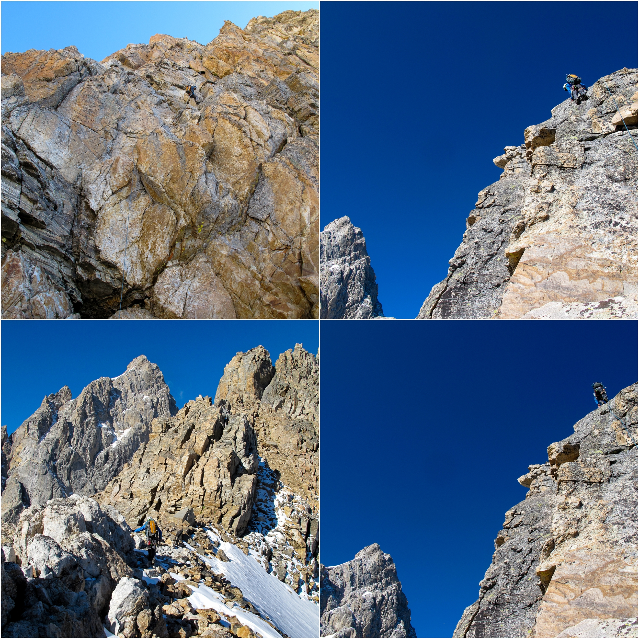 (Top Left) Rappels off of Mt. Teewinot. (Top & Bottom Right) Climbing Mt. Owen. (Bottom Left) Coven Col with the Grand on the left.