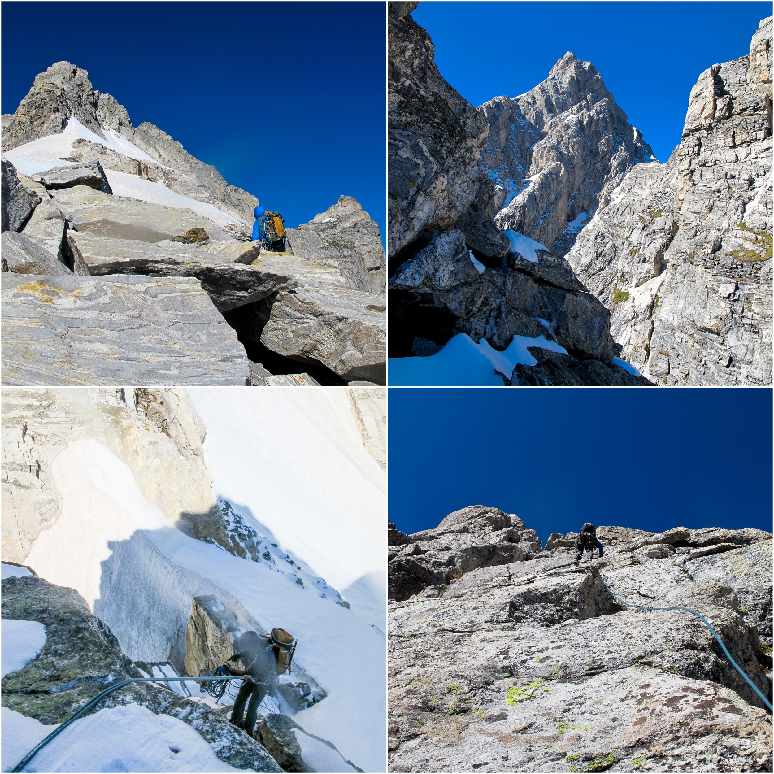 (Top Left) Approach to Mt. Owen. (Top Right) The Grand as seen through the Coven Col (Bottom Right) Climbing Mt. Owen (Bottom Left) Full alpine conditions descending down to Mt. Owen.
