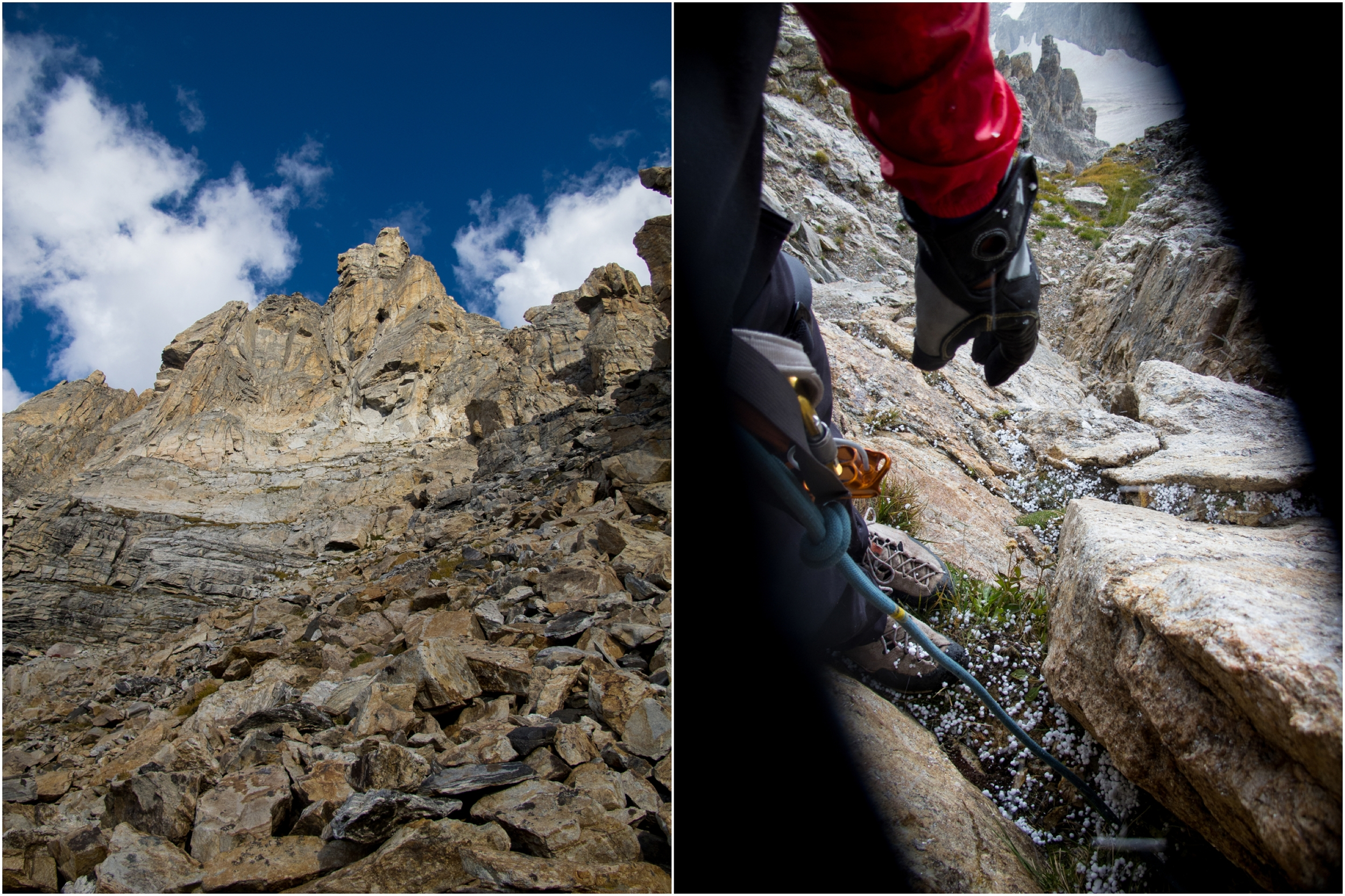 (Left) Things cleared up...So we went for it. (Right) Belay ledge at about 12,300'....and the hail.