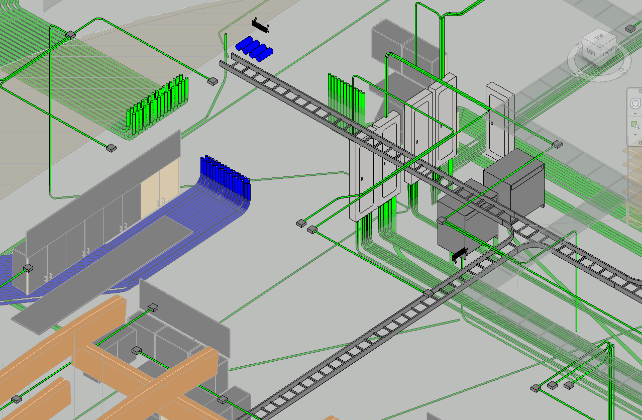 All love voltage and cable tray design and coordination { Modeled and designed by me, not complete design}