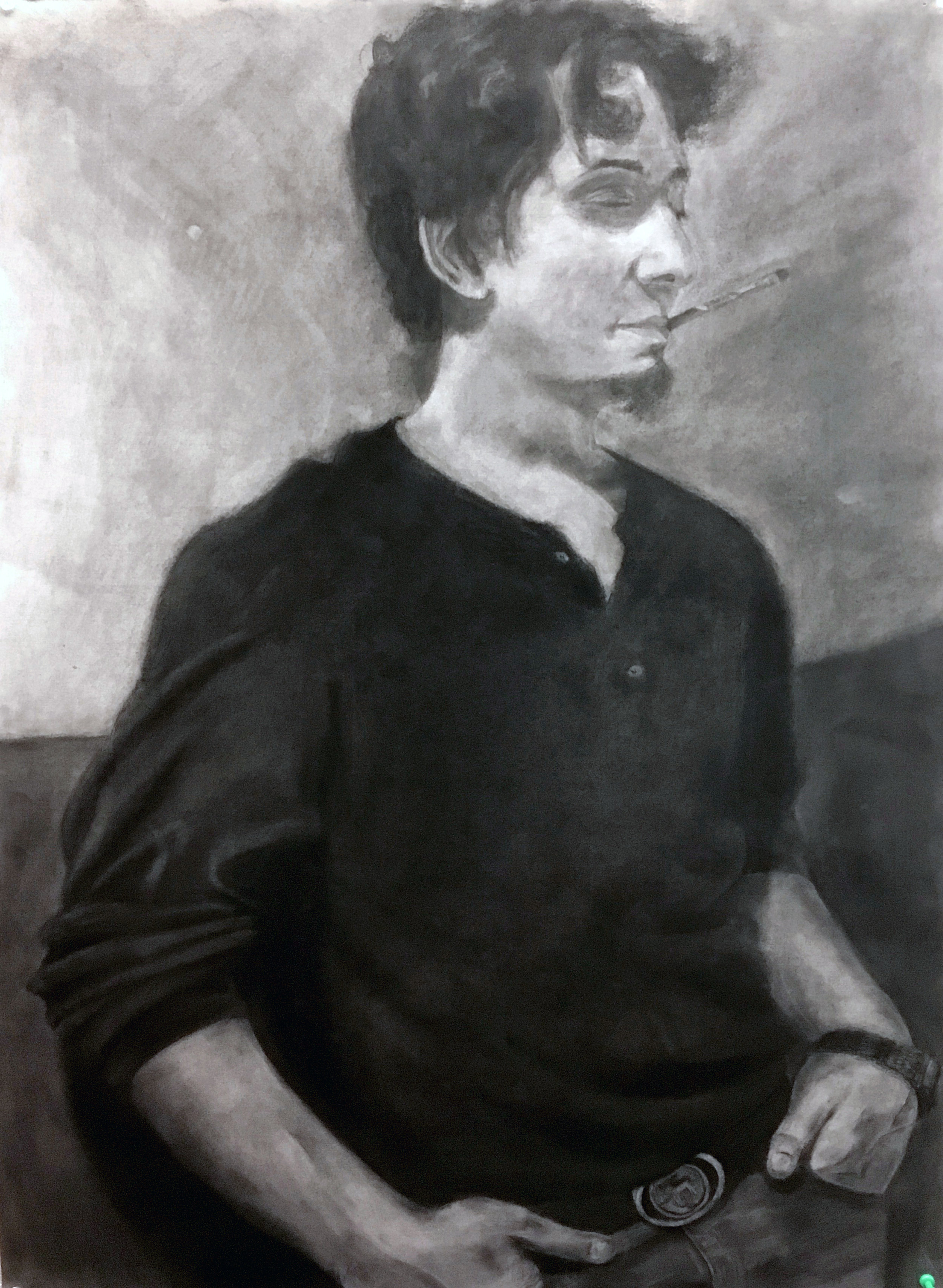"""Drawing using grid-method 22"""" x 30"""" charcoal on paper"""