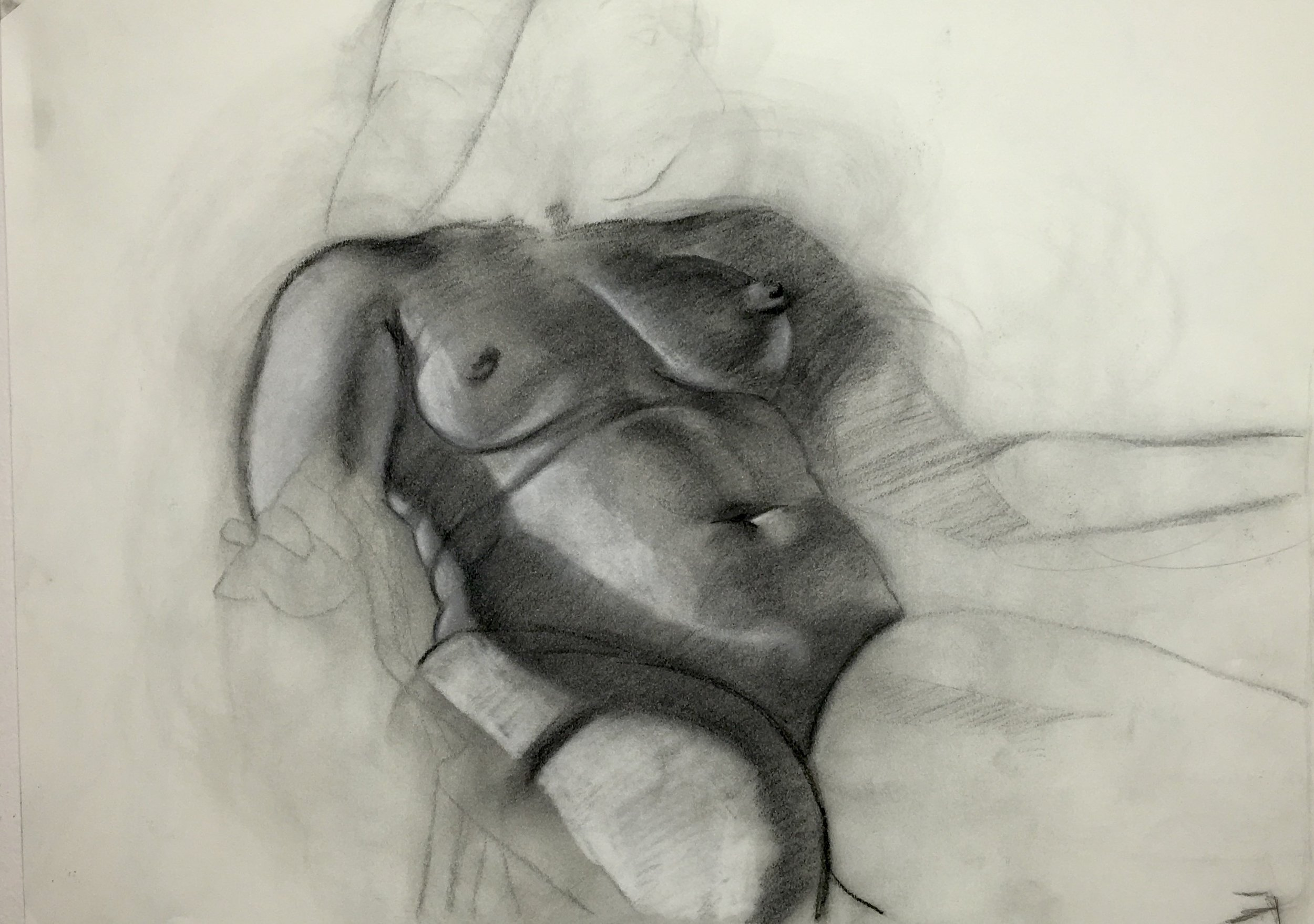 Figure study emphasizing value and form
