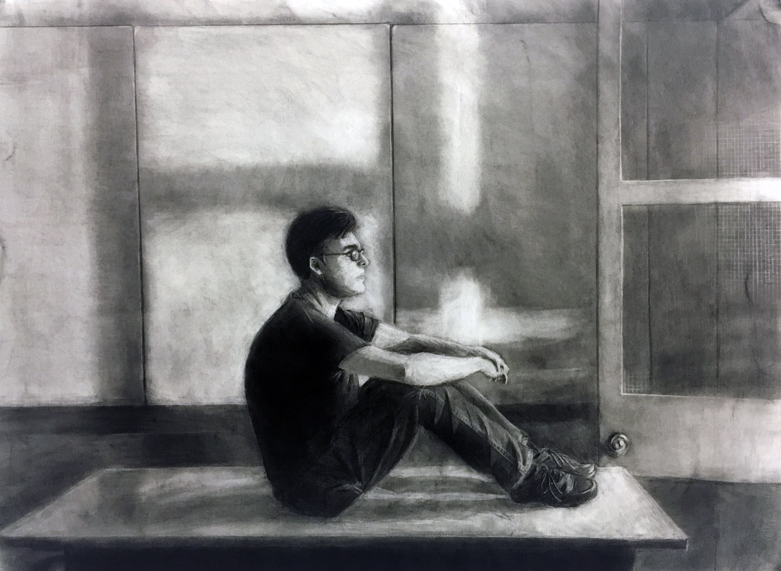 """Drawing based on existing artist composition 22"""" x 30"""" charcoal on paper"""