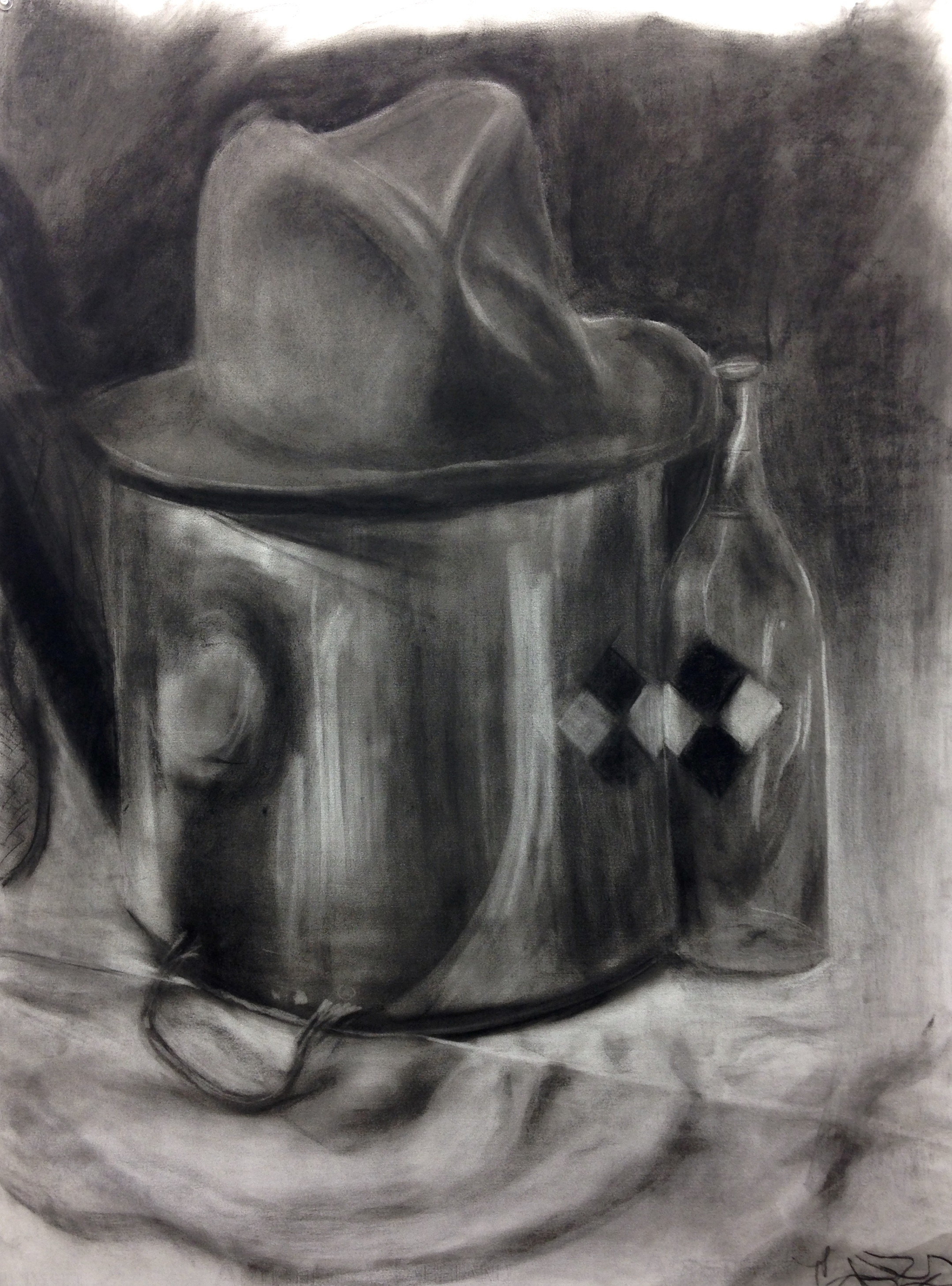"""Long-term Still-life 22"""" x 30"""" charcoal on paper"""