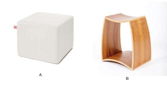 Fig 2.3  | Venstre:  Cube Chair  by Cubestyle. Højre:  Ina Stool  by Wiinberg