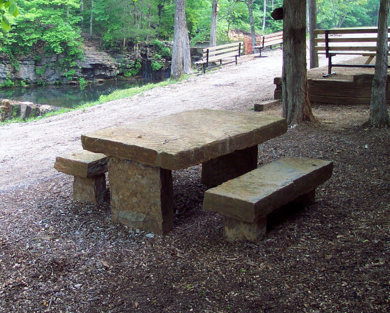 Rustic Stone Table and Benches
