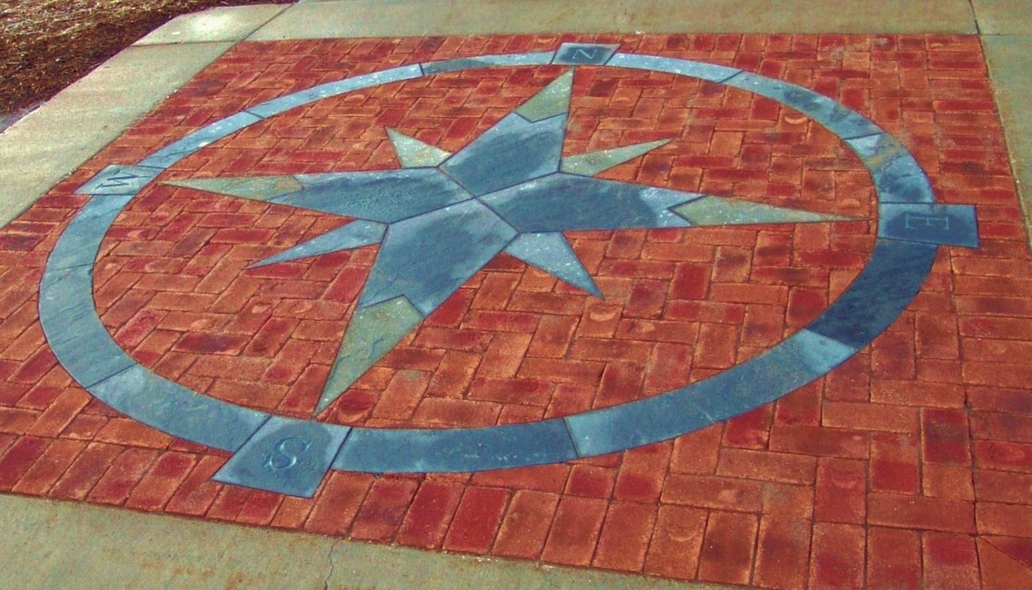 Bluestone Compass in a Brick Patio