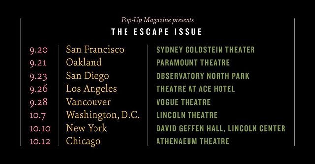 For the next three weeks, I'm on tour with @popupmagazine! Starting tonight in SF and then all over. If you come to a show, stick around after and say hi!