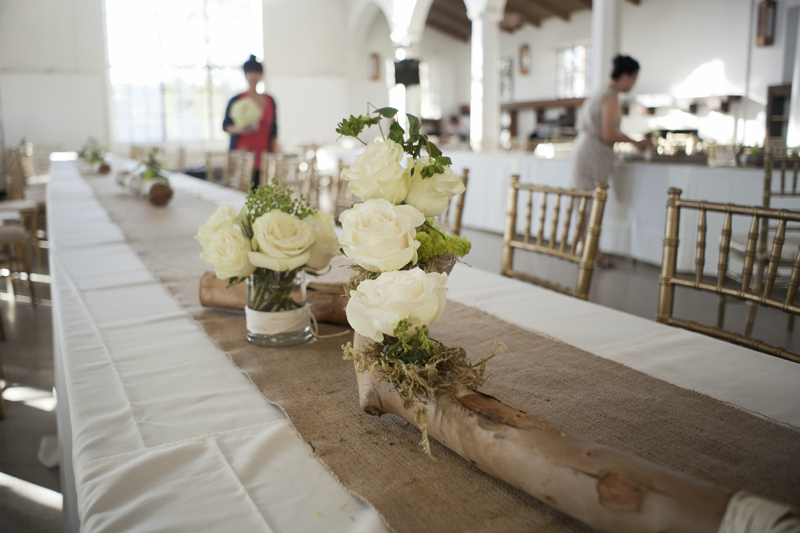 branches from a felled tree turned into our floral centerpiece