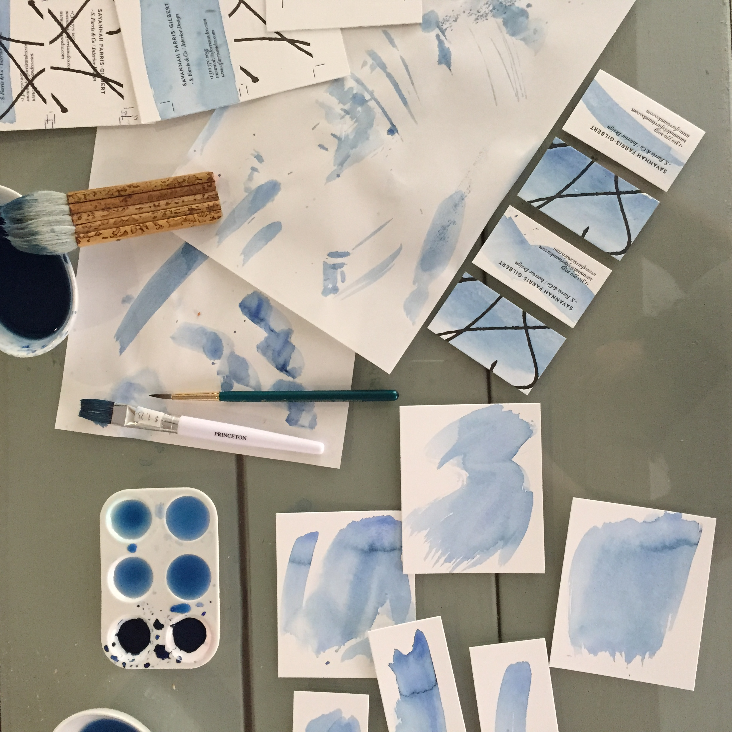 Indigo watercolor tests for  Savannah Farris-Gilbert