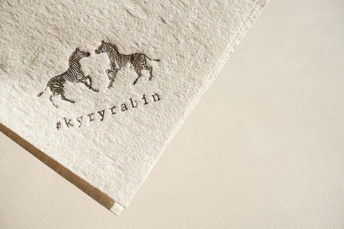 Foil stamped detail on natural napkins