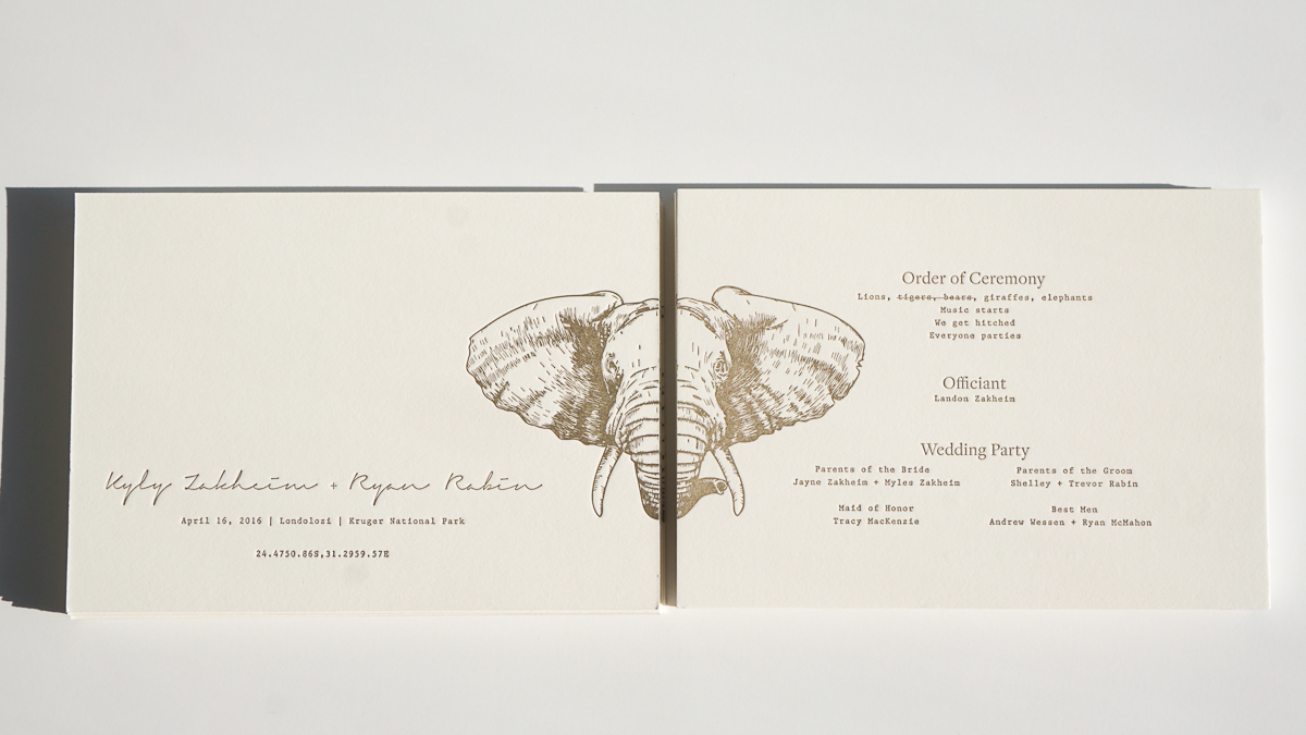 Wedding program (letterpress)  / front and back