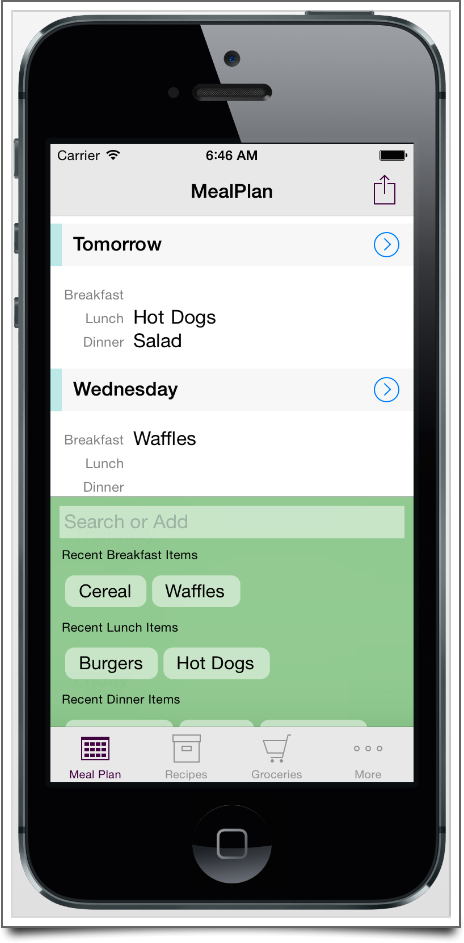 The scrolling day view of your meal plan.
