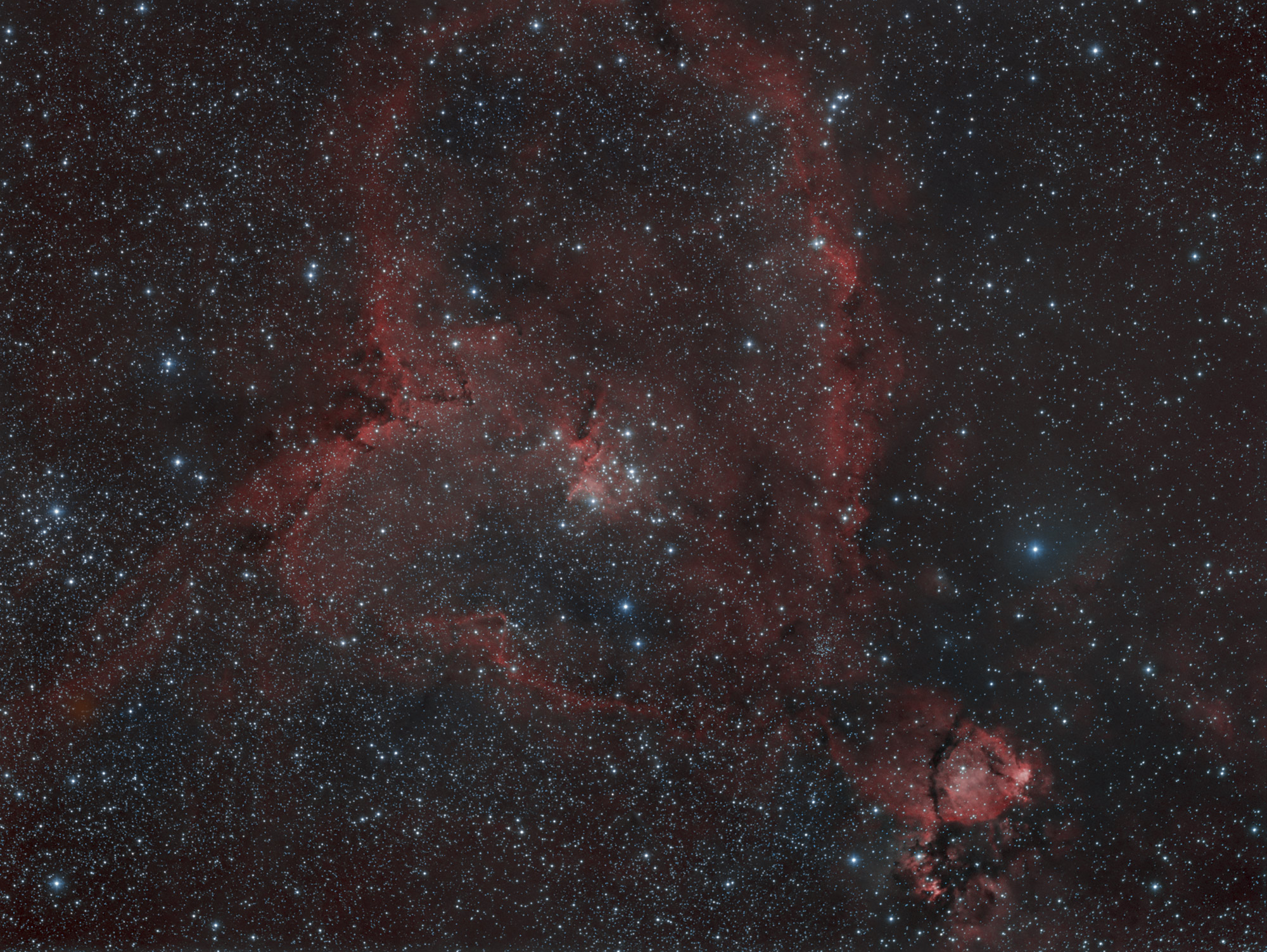 Heart Nebula 9 hours, 5 Ha ,4 OIII.  Click to see 75% resolution