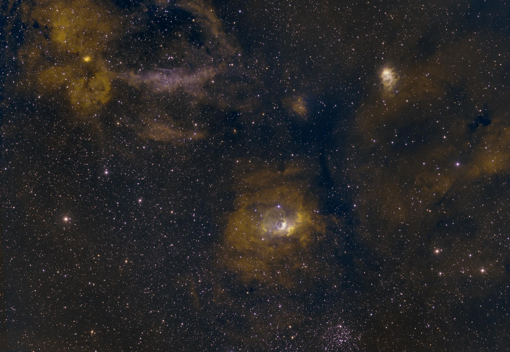 Bubble Nebula bi-color. 5 hours ha, 3 hours OIII