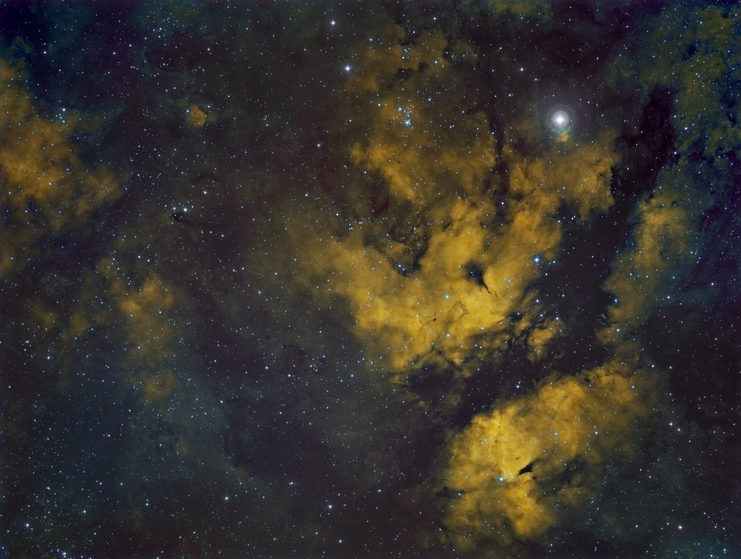 IC 1318 in the Hubble pallet
