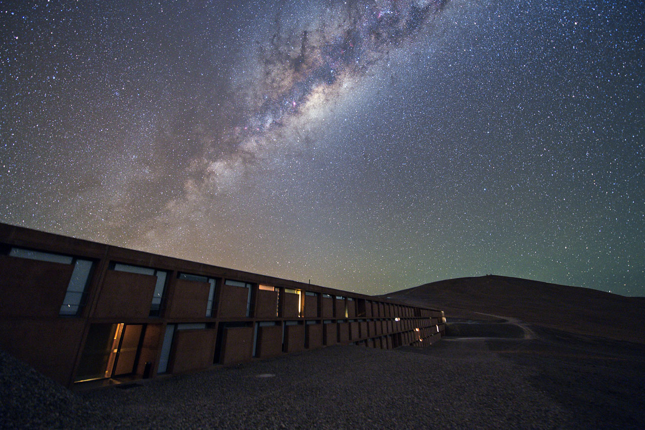 The skies above the Residencia are dotted with distant stars and illuminated by the Milky Way Credit: ESO/Y. Beletsky