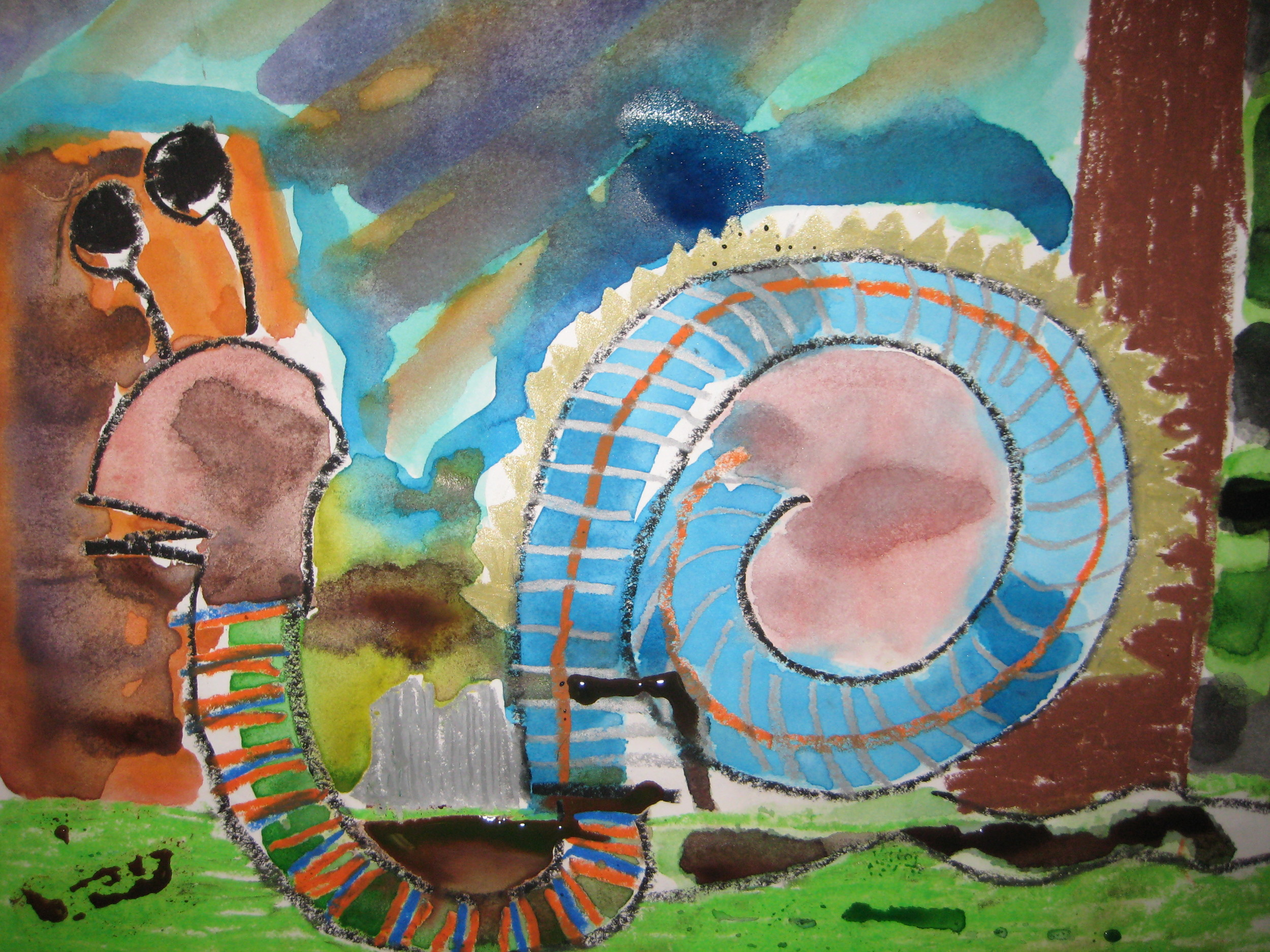 Spiral Snail,  Oil Pastel and Watercolor Wash, Grade 3